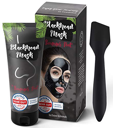 Premium Blackhead Mask By Summer Foot Black Edtion I Dermatologisch getestet I XXL Packung 100 ml + Spatel I Aktivkohle Peel Off Mask entfernt Mitesser