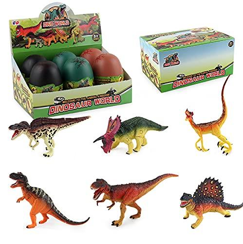 JOKFEICE - Juguetes de dinosaurio, 6 piezas de huevos de dinosaurio, juguetes para tomar parte, incluye pentasauro, etc. Juego de construcción de cerebro STEM para niños