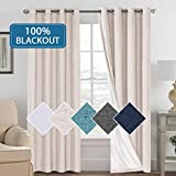 Allbright 100/% Blackout Lined Curtains 52W x 84L, Gold Brown | 2 Panels Shading Lining 2 Layers Completely Blackout Window Treatment Thermal Insulated Drapes for Bedroom Living Room Jacquard