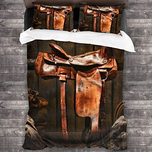 AIMILUX Funda Edredón,American West Legend Rodeo Cowboy Sillín Occidental de Cuero marrón en un Antiguo Granero de Madera del Rancho,Ropa de Cama Funda Nórdica,1(240x260cm)+2(50x80cm)