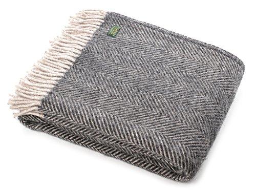 Tweedmill Textiles Schurwolle Decke/Überwurf, Fischgrätmuster, anthrazit/Silber