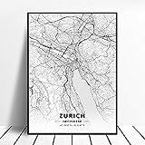 NOVELOVE Zürich Stadt Schweiz Karte Poster HD Drucke
