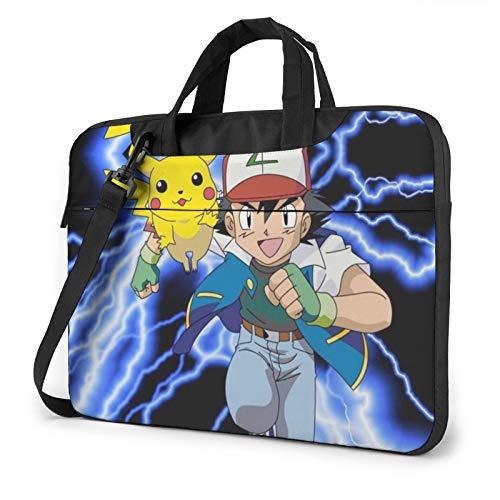 Poke-Mon Ash and Pikachu 13 14 15.6 Inch Laptop Bag Shoulder Messenger Bag Adjustable Computer Shockproof Laptop Briefcase Air Pro Notebook Sleeve