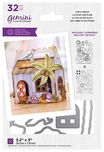 Crafters Companion GEM-STD-LAB Gemini – transparenter Acrylstempel und Metall-Stanzschablonen-Set – Life's A Beach, silber, Einheitsgröße