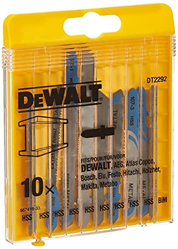 DEWALT DT2292-QZ lavorazione del legno - set lame seghetto - cassetta composta da 10 lame assortite per metallo: dt2160(x3), dt2161(x2), dt2172(x2), dt2163(x2), dt2054.