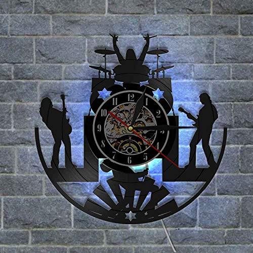 gunchkb retro klok, wisselend in zeven kleuren, wandklok met licht