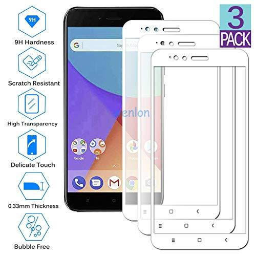 Wenlon [3 Unidades Protector de Pantalla de Cristal Templado para Xiaomi Mi A1, Vidrio Duro 9H, Protector de Pantalla HD de Cobertura Total -Blanco