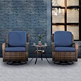 PHI VILLA Rattan Swivel Rocking Chairs 3 PC Patio Conversation Set, 2 Cushioned Chairs & 1 Side Table