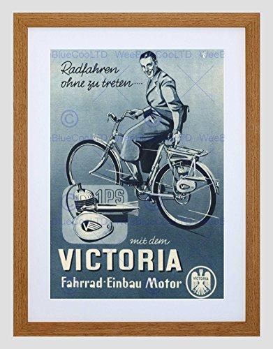 Wee Blue Coo Advert Fiets Vervoer 1949 Victoria Motor Omlijst Muur Art Print