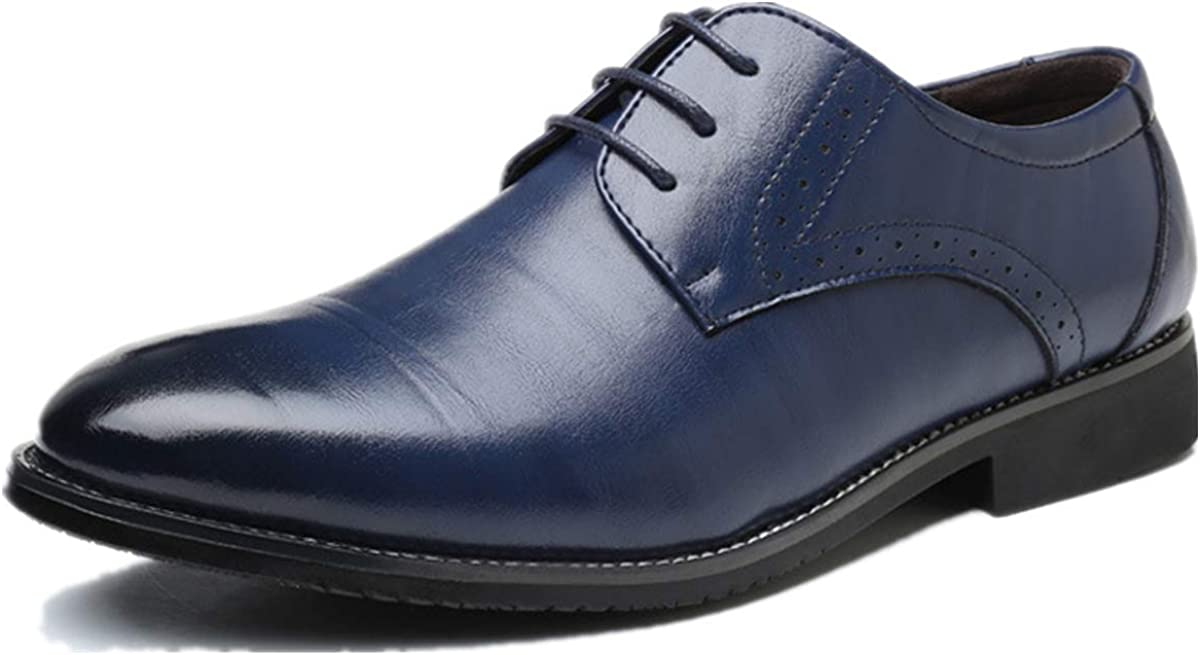 XIUWU Men's Classic Pleather Oxfords Shoes Formal Business Dress Footwears for Men