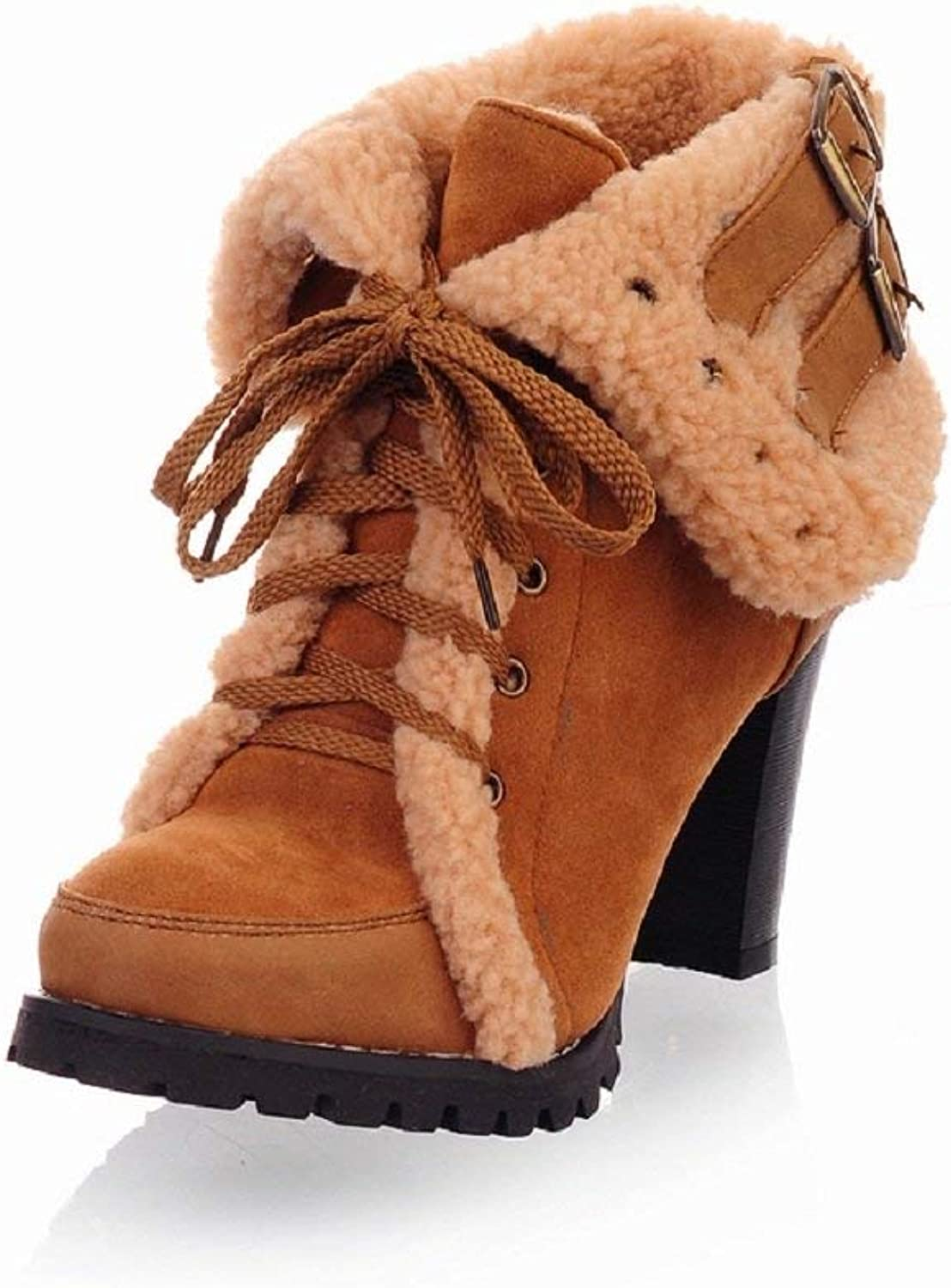Gcanwea Winter Fashion Womens High Heel Snow Boots Black Non-Slip Breathable Lace Up Warm Rubber Sole Round Toe Comfortable Yellow 4.5 M US Snow Boots