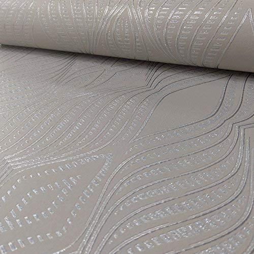 Debona Jewel Strass Streifenmuster Tapete Silber Metallisch Glitzer Geprägt - Taupe 2471
