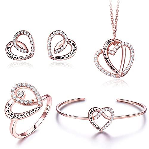 CHXISHOP Conjunto de joyas de plata esterlina 925, Carácter Imprimir Zircon Collar personalizado, pendientes, anillo, pulsera, cuatro piezas de joyería de oro - 8 #