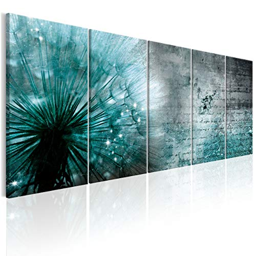 decomonkey Bilder Pusteblume Blumen 200x80 cm 5 Teilig Leinwandbilder Bild auf Leinwand Vlies Wandbild Kunstdruck Wanddeko Wand Wohnzimmer Wanddekoration Deko Wanddeko Pflanzen grau blau