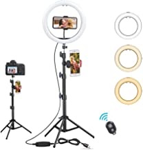 10'' LED Ring Light with Tripod Stand & 2 Phone Holders, FAIRY FANTASY Dimmable Beauty Selfie Fill Light for Makeup/Photog...