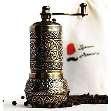 Bazaar Anatolia Turkish Grinder, Pepper Mill, Spice Grinder, Salt Grinder (4.2'', Antique Gold)