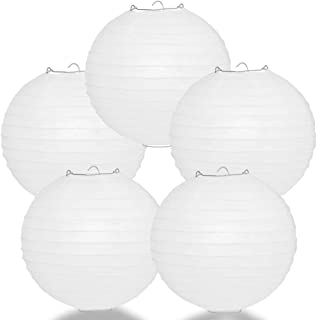 Quasimoon PaperLanternStore.com (5-Pack) 12 Inch White Round Paper Lantern, Even Ribbing, Hanging Decoration