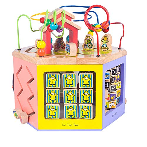 Actividad Cube Bead Maze 6 en 1 Multiusos jugar en el centro for niños Los niños de la forma del clasificador de color de los granos Maze tiempo educativo juega juega Juguete de Montaña de Roller de M