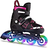 OUTCAMER Inline Skates with Light Up Wheels Adjustable Roller Skates Beginner Roller Fun Flashing Illuminating Roller Skates for Kids Boys and Girls