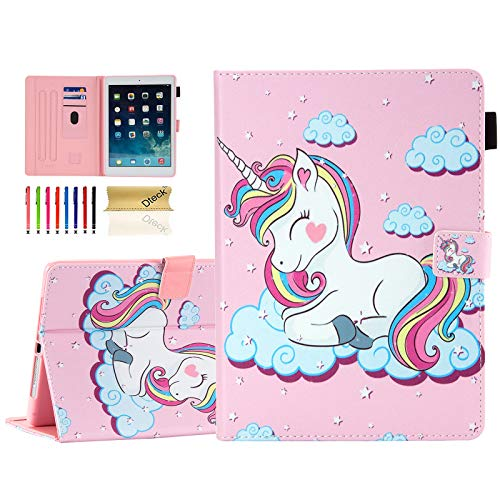 Dteck Case for iPad 6th Generation 2018 /iPad 5th Generation 2017 /iPad Air 2 2014 /iPad Air 2013 Tablet 9.7 Inch, PU Leather Smart Stand Wallet Cute Flip Fold Cover with Stylus Pen (Smile Unicorn)