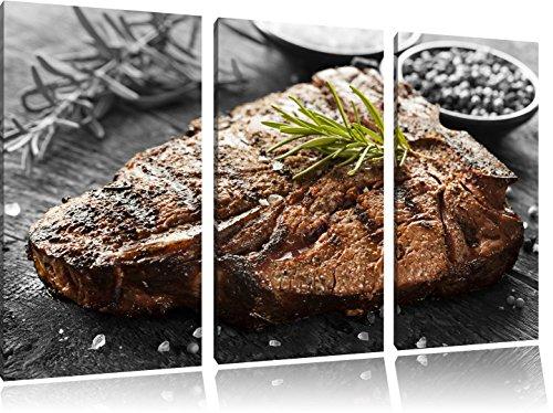 Gebratenes Steak mit Rosmarin schwarz/weiß 3-Teiler Leinwandbild 120x80 Bild auf Leinwand, XXL riesige Bilder fertig gerahmt mit Keilrahmen, Kunstdruck auf Wandbild mit Rahmen, günstiger als Gemälde oder Ölbild, kein Poster oder Plakat