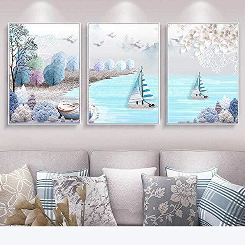 N / A Mediterrane Segelboot Grafik Plakat Leinwand Malerei Kinderzimmer Wanddekoration Rahmenlos 40x60cm