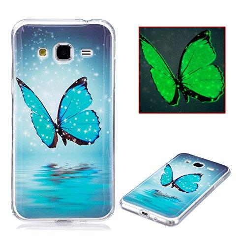 Cover Samsung J3 6 Silicone, Aeeque Fantasia Brillantini Luminosa Modello Farfalle Blu Custodia in Silicone Morbido per Samsung Galaxy J3/J3 (2016) 5.0' Trasparente Bordo Antiurto Telefono Rigida