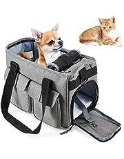 HAPPY HACHI Bolsa para Mascotas Perro Gato para Viaje Transporte Coche Cómodo Seguro Talla Mediana Pequeña Portador de Mascotas Gris