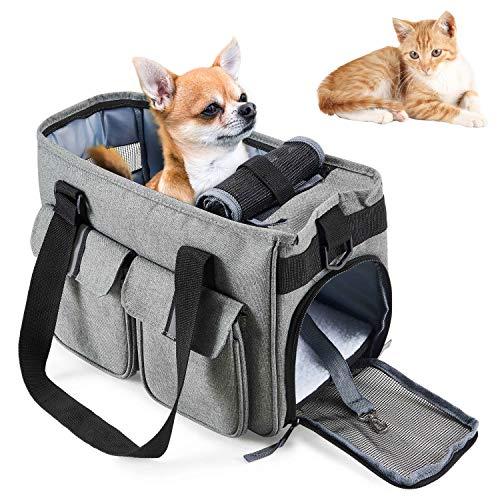 HAPPY HACHI Small Dog Carrier Cat Handbag Lightweight Pet Oxford Travel Soft Sided Shoulder Carry Bag for Kitten Rabbit Guinea Pig (Light Grey)