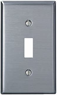 Leviton 004-84001-04 Single Gang Stainless Steel Single Toggle Wallplate - 4 Pack