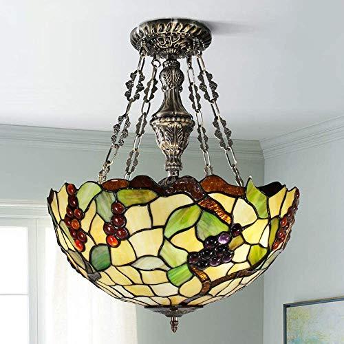 DALUXE Lámparas de Tiffany, 3 Luz, Uvas Techo Nacidos con Tonos de Color de 16 Pulgadas Decoraciones lámpara de Cristal Colgante de Bronce de Vacaciones Pendientes de Comedor,Segundo
