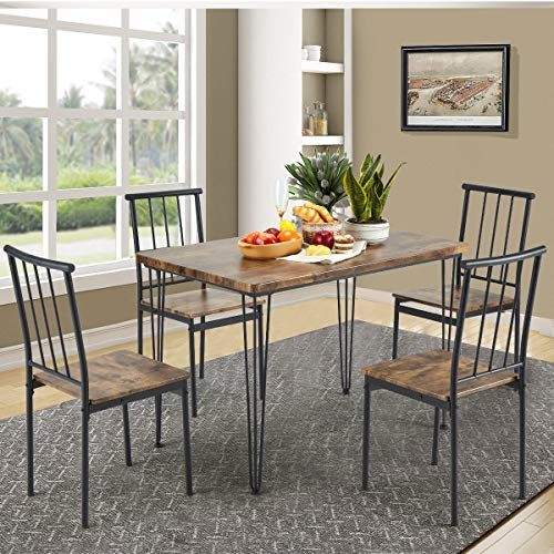 MELLCOM 5-Piece Dining Table Set with 4 Benches Modern Compact Iron Frame MDF Board, PVC Chairs Set for Home, Bar, Kitchen 4 Person Brown