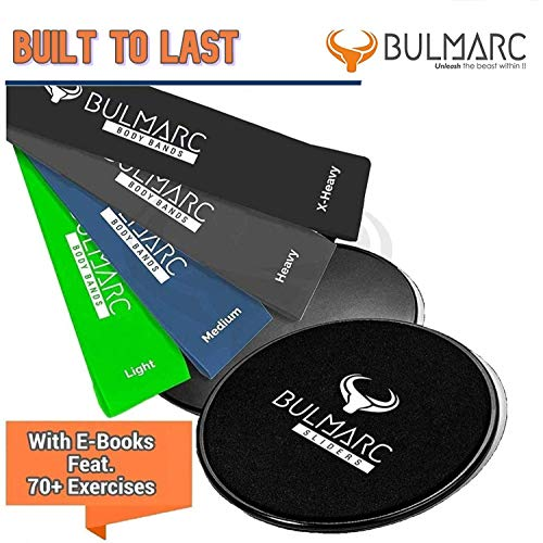 BULMARC Resistance Bands and Core Sliding Discs with 70 Exercise Guides and Carry Bag