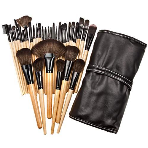 32pcs Nylon Wool Bristle Wooden Handle Professional Cosmetic Brush Set, Premium Foundation Brush Blending Face Powder Blush Concealers Eye Shadows Make Up Brushes