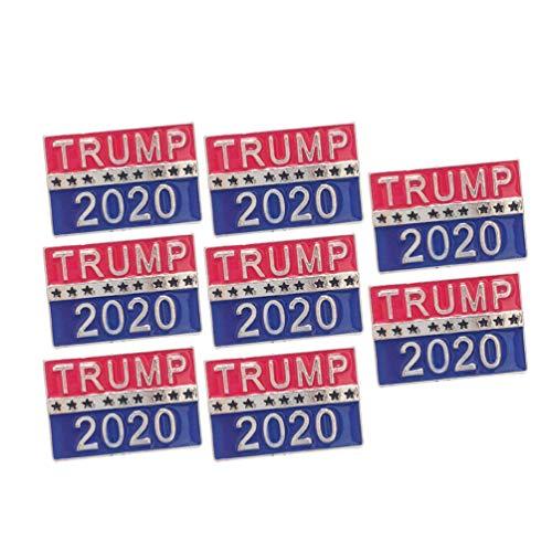 Amosfun 8 Stücke Trump 2020 Brosche Pin Emaille Anstecker Amerika USA Anstecknadel Clip Ornament für Kinder Damen Herren