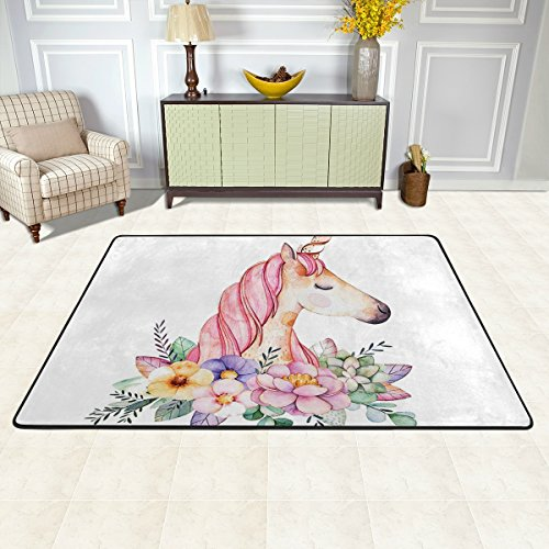 OREZI 36 x 24 inches Soft Area Rug, Lightweight Rugs/Decoration Floor Mat/Cover Carpets Protect Floor Flower Surrounded Unicorn Rugs for Living Room/Bedroom/Dining/Children's Bedrooms