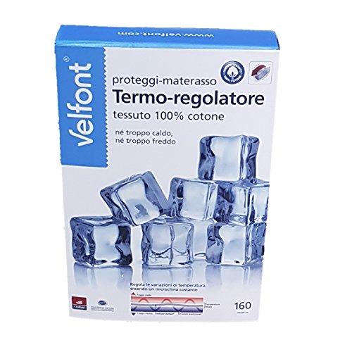 Velfont coprimaterasso proteggi materasso con angoli termoregolatore in tessuto outlast di 100{8adbee328f52cdf728d686e265db0a80cda904646ed790c07ca8fe637f586f54} cotone, Matrimoniale cm 160x190/200