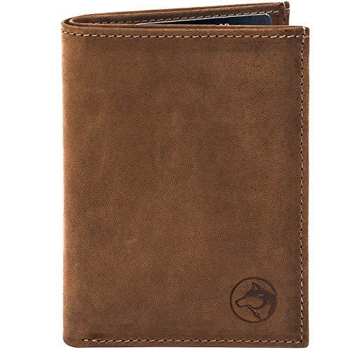 Wolfstrøm Geldbörse Svåla — Mini Wallet mit Münzfach & RFID-Blocker — Herren-Portemonnaie Hochformat mit Scheinfach, Herren-Geldbörse, Herren-Geldbeutel, Portmonee — Braun