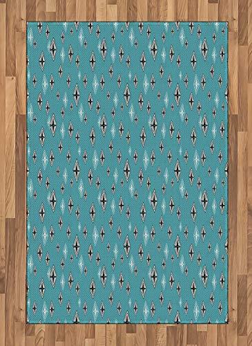 ABAKUHAUS Abstract Tapijt, Ruit met driehoeken, vlak Geweven Vloerkleed voor Woonkamer, Slaapkamer, Eetkamer, 120 x 180 cm, Pale Blue Zwart Wit