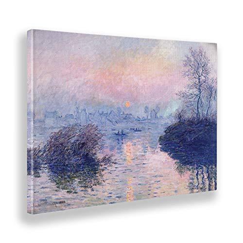 Giallobus - Pinturas - Claude Monet - Paisaje al Atardecer - Lienzo - 140x100 - Listo para Colgar - Cuadros Modernos para el hogar