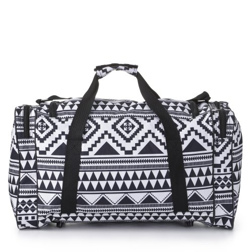 Carry On Lightweight Small Hand Luggage Cabin on Flight & Holdalls (Aztec Black/White)