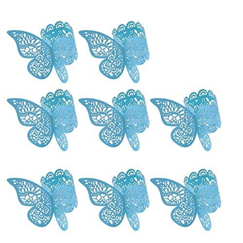 Empty Leere 50 Stück Hochzeit 3D Schmetterling Papier Serviettenring Serviettenbänder Party Tischdekoration (Pink), Blaue Serviettenringe