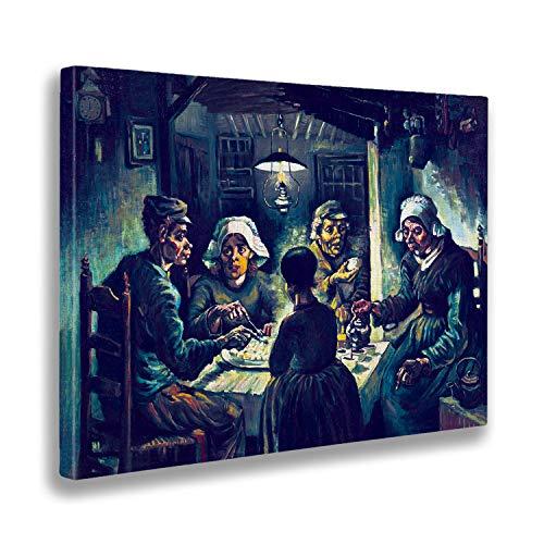 Giallobus - Schilderij - Vincent Van Gogh - Aardappeleters 2 - afdrukken op doek - klaar om op te hangen - Verschillende formaten - 100x70 cm