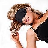 Kanema Schlafmaske aus Seide mit GRATIS-Tasche und ebook für Damen und Herren/schwarze, blickdichte Schlafbrille fürs Flugzeug und andere Reisen