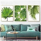 Zhangshaiffbh pintura sobre lienzo hoja de plátano tropical hojas de palmera frescas planta verde nórdica cartel verde imagen de la pared decoración de la habitación 60x80cm sin marco