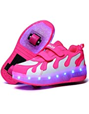 Flickor Roller Skate Skor Boys Sneakers USB Laddningsrulle Skate Skor Led Light Up Wheels Två Hjulskor För Barn Nybörjare Gåva,Pink white,39