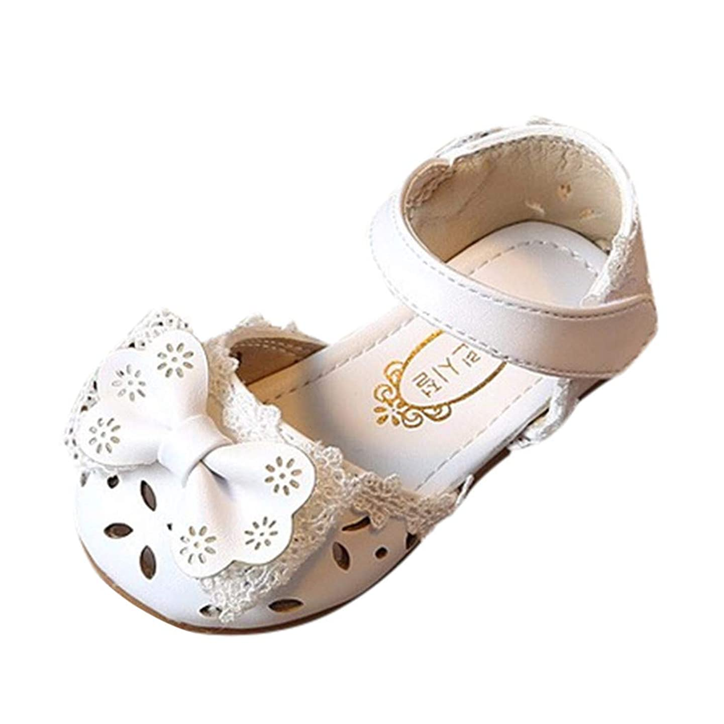 Infant Baby Girls Leather Sandals Rubber Soft Sole Summer Sweet Princess Dress Bowknot Walker Shoes Slippers