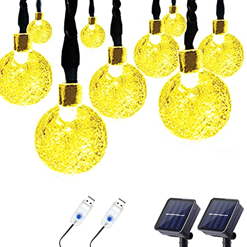 Lalapao 2 Pack Solar Globe String Lights 30 LED (19.7ft) Solar/USB Powered Crystal Ball Christmas Fairy Light for Outdoor Indoor Xmas Tree Garden Patio Lawn Holiday Wedding Party Decor (Warm White)