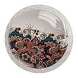 Perillas redondas para aparador (4 piezas) – Colorido diseño floral decorativo para cajón, decoración del hogar, estilo árabe patrón árabe