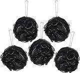 BRUBAKER Cosmetics Esponjas de Flor Exfoliante - Malla de Nylon para el Cuerpo - Puff Pufs Bola de Baño y ducha - 5 piezas - Negro